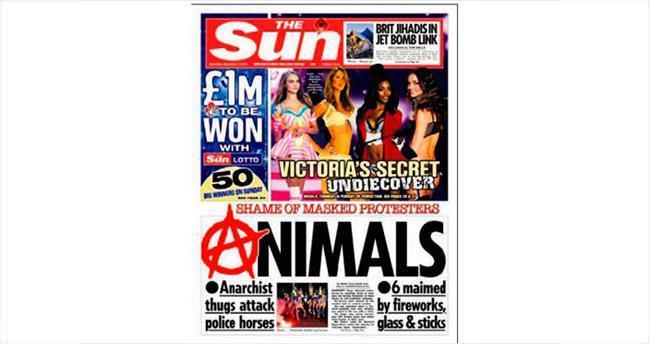 Gazete göstericilere Hayvanlar dedi