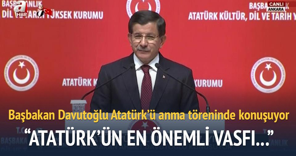 Başbakan Davutoğlu Atatürk'ü anma töreninde konuştu