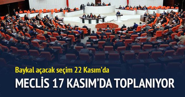 Meclis 17 Kasım'da toplanıyor