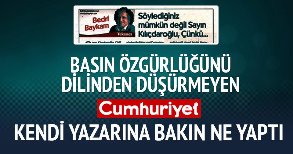 Cumhuriyet Gazetesi'nde Kılıçdaroğlu'nu eleştiren yazıya sansür