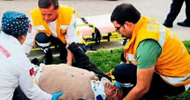 Motosikletinden düşüp yaralandı