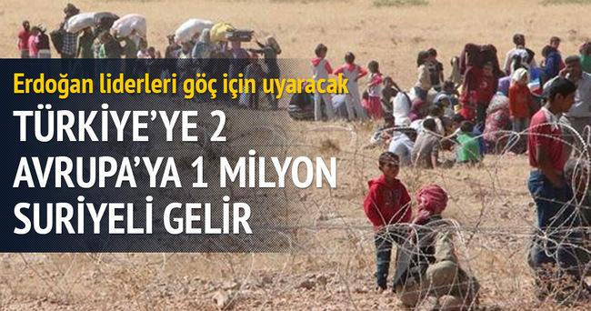 Türkiye'ye 2, Avrupa'ya 1 milyon Suriyeli gelir
