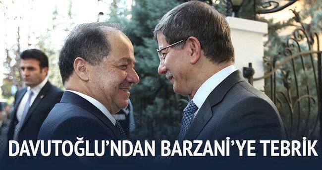 Davutoğlu'ndan Barzani'ye tebrik