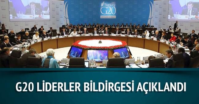 G20 Liderler Bildirgesi açıklandı