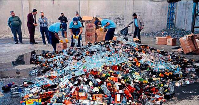 Gaziantep'te 6 bin şişe sahte içki imha edildi