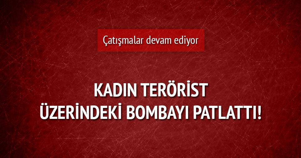Kadın terörist üzerindeki bombayı patlattı