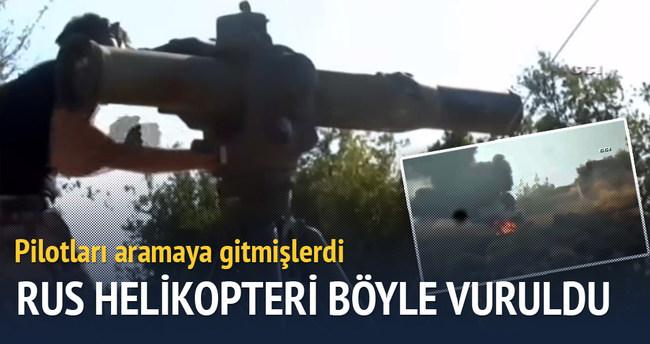 Pilotları aramaya giden Rus helikopter vuruldu