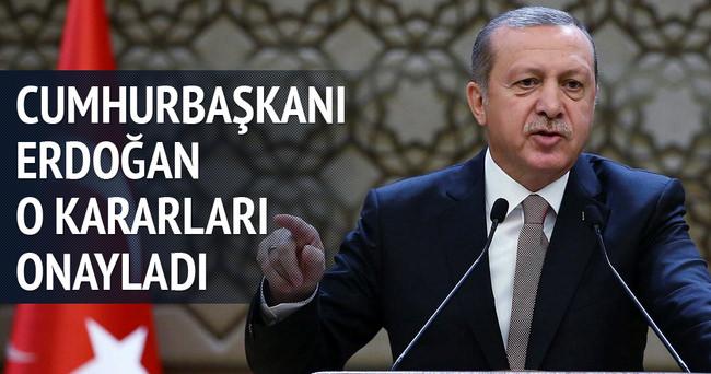 Cumhurbaşkanı Erdoğan kararları onayladı