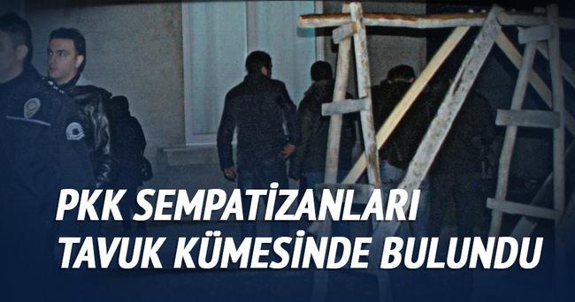 Polsin kovaladığı eylemciler tavuk kümseine saklandı