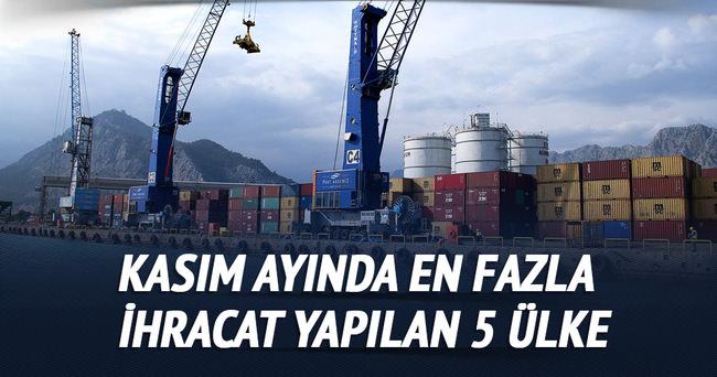 Kasım ayında en fazla ihracat yapılan 5 ülke açıklandı