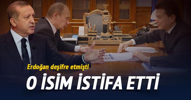 Erdoğan'ın işaret ettiği o isim istifa etti
