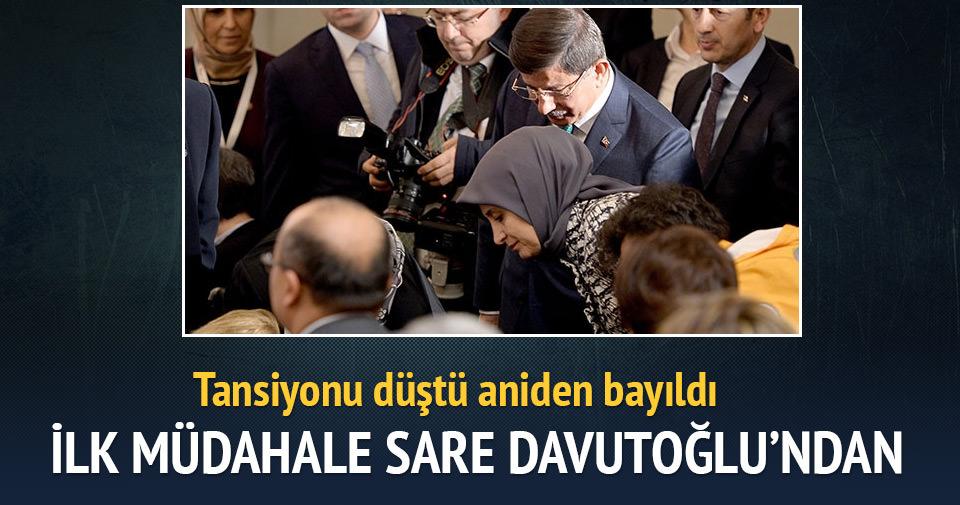Başbakanlık koruma polisi bayıldı, Sare Davutoğlu müdahale etti