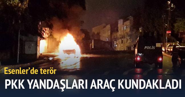 PKK yandaşları araçları ateşe verdi