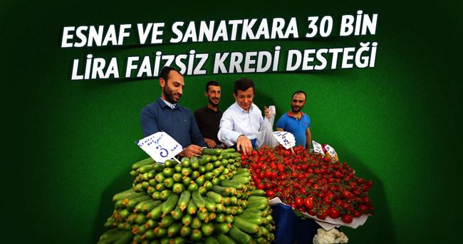 Esnaf ve sanatkara 30 bin lira faizsiz kredi desteği
