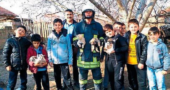 Oyun oynayan çocuklar yavru köpekleri kurtardı