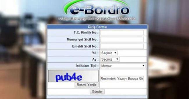 E Bordro, maaş bordrosu sorgulama ekranı