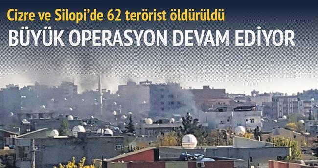Cizre ve Silopi'de 62 terörist öldürüldü