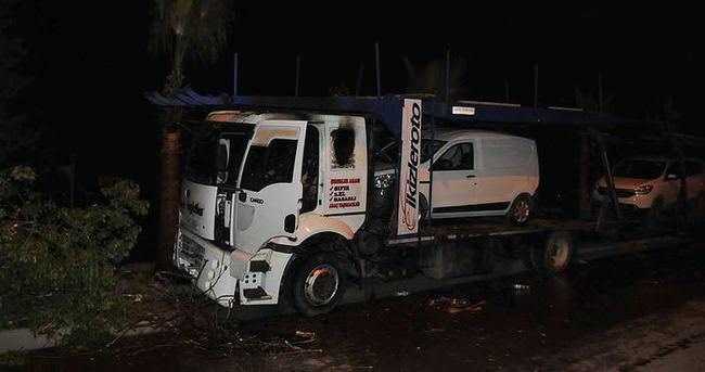 Tarsus'ta araç yüklü TIR'a molotoflu saldırı