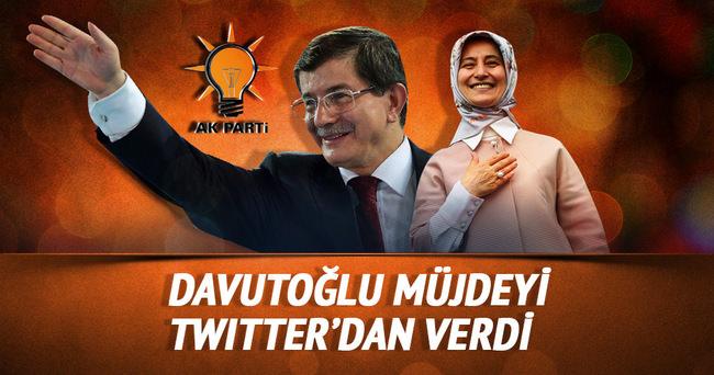 Başbakan Davutoğlu Twitter'dan müjdesini verdi