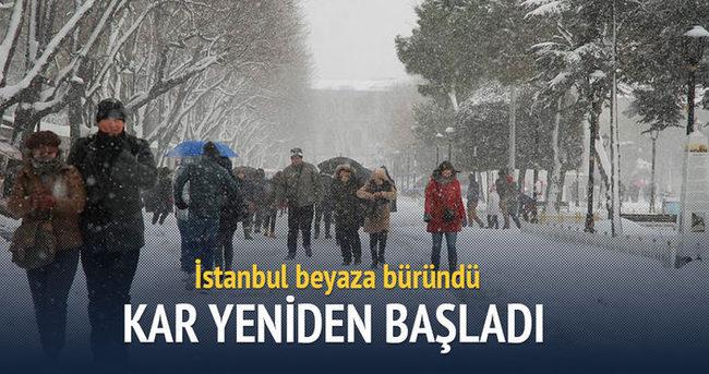 İstanbul'da kar yeniden başladı