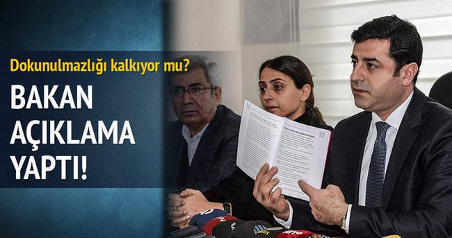 Adalet Bakanı Demirtaş'ın dokunulmazlığı hakkında konuştu