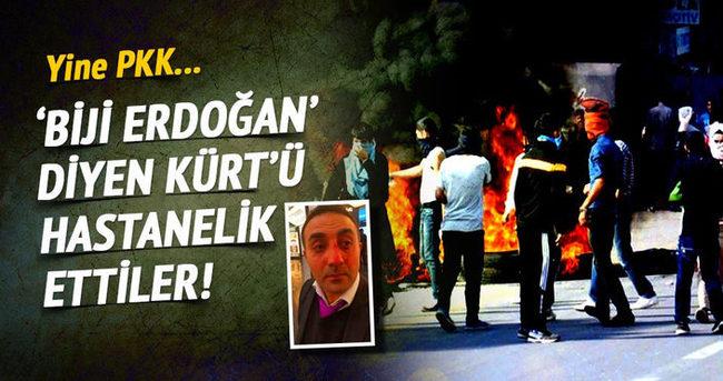 ''Biji Erdoğan'' diye bağıran Kürt'e PKK'lılar saldırdı