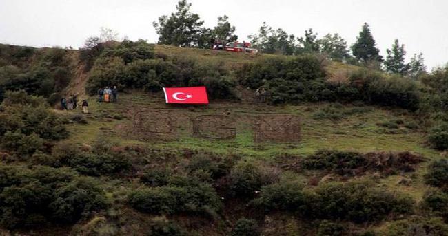 Dağdaki 'OGM' yazısı 'PKK' ile değiştirildi