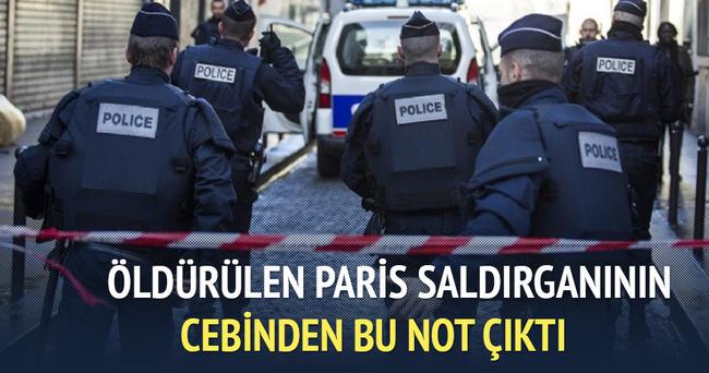 Öldürülen Paris saldırganı, itiraf mektubu yazmış