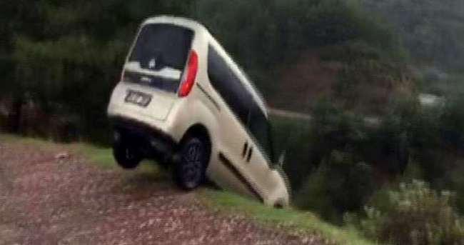 Dolandırıcılara kızdı aracını uçurumdan aşağı attı