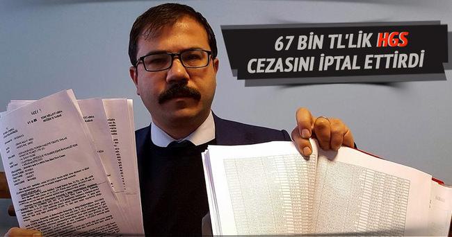 67 bin TL'lik HGS cezasını iptal ettirdi