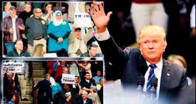 Başörtülü kadını Trump'ın toplantısından attılar