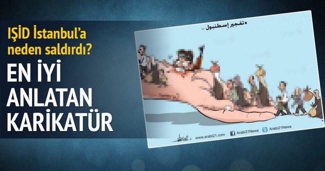 Filistinli karikatürist Sultanahmet'i çizdi