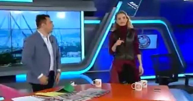 Tuğçe Kazaz canlı yayında spikeri azarladı
