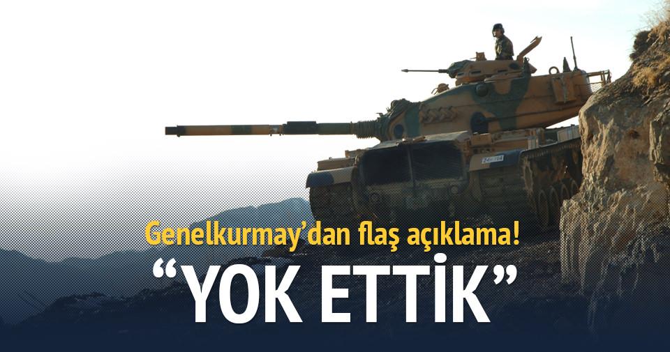 TSK Türkiye'ye saldıran hedefleri yok etti