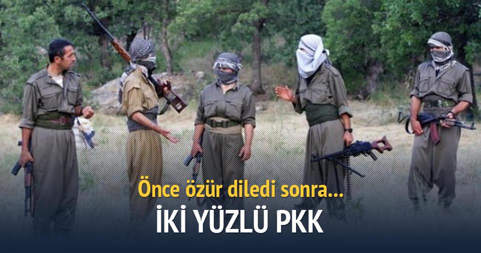 İkiyüzlü PKK'lılardan önce özür sonra tebrik