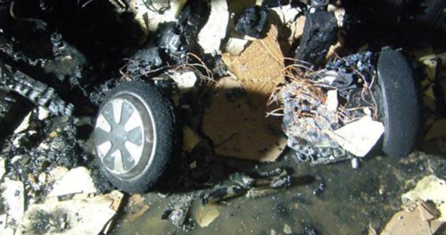 Hoverboard yüzünden ev yandı