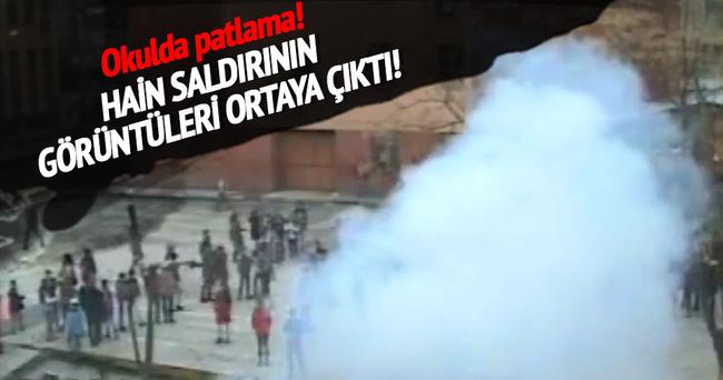 Diyarbakır okulda yaşanan patlama güvenlik kameralarına yansıdı