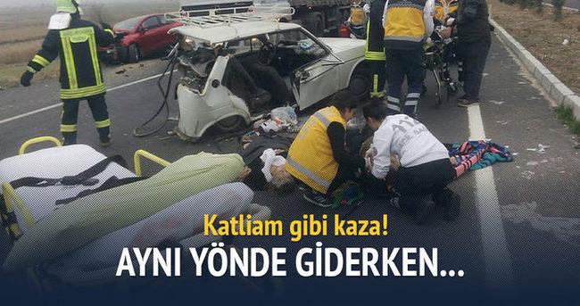 Aynı yöne giden iki otomobil çarpıştı: 3 ölü 3 yaralı