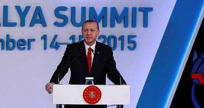 Cumhurbaşkanı Erdoğan'dan Antalya'ya G20 teşekkürü