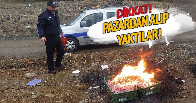 Pazarda satılan tavuk etleri imha edildi