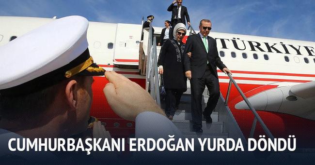 Cumhurbaşkanı Erdoğan Türkiye'ye geldi