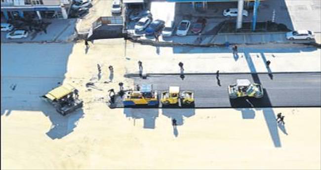 Tulumba Kavşağı'nda asfaltlama çalışmaları