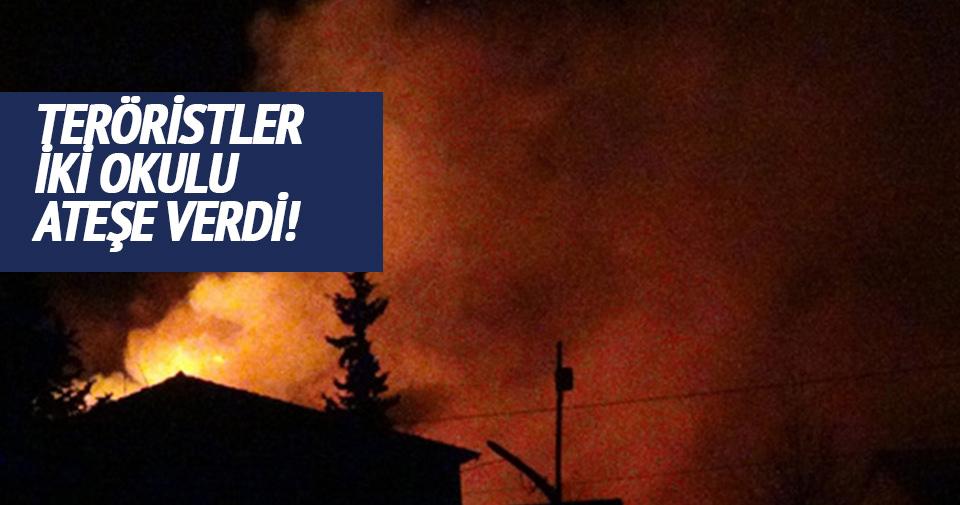 Nusaybin'de ateşe verilen okullar cayır cayır yandı