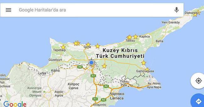 Google mobil harita uygulamasına KKTC'yi ekledi