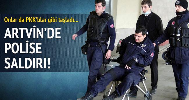 Artvin'de polise taşlı saldırı!