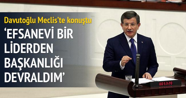 Başbakan davutoğlu: 'Efsanevi bir liderden başkanlığı devraldım'