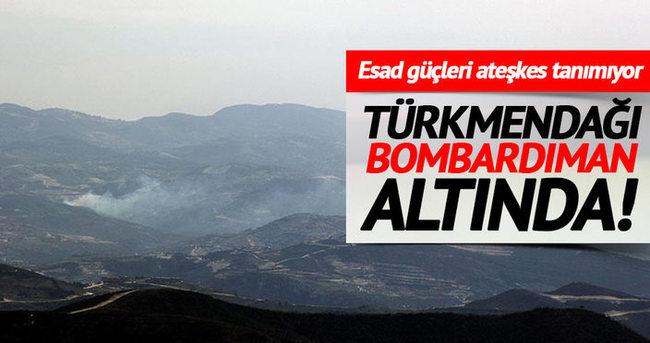 Esad güçleri Türkmendağı'na top atışı yapıyor