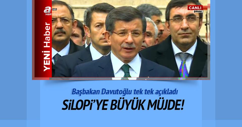 Başbakan Davutoğlu'ndan Silopi'ye müjde