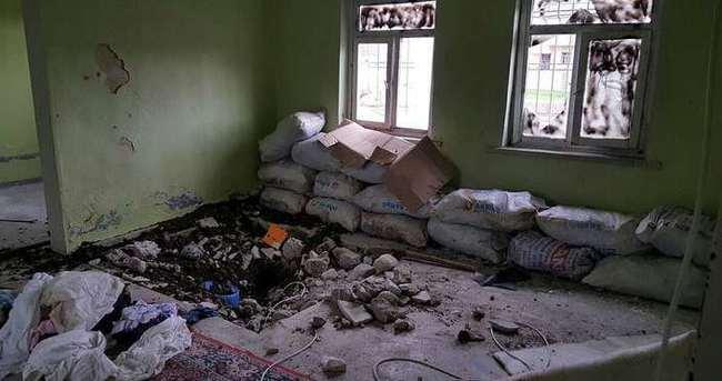PKK'lıların karargah olarak kullandığı okul görüntülendi
