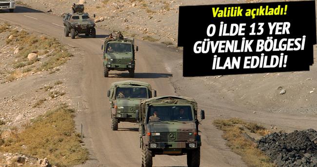 Elazığ'da 13 yer güvenlik bölgesi ilan edildi